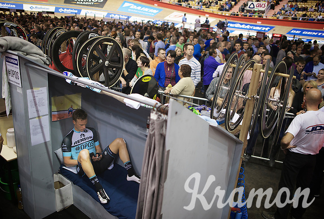 Iljo Keisse (BEL) relaxing between runs<br /> <br /> Gent6 2013