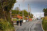 COPY BY TOM BEDFORD<br /> Pictured: Two Dyfed Powys Police PCSOs patrol in Hermon, Wales, UK. Wednesday 31 October 2018<br /> Re: A woman who died after suffering severe burns at the Chipoteria chip shop in Carmarthenshire, west Wales has been named as Mavis Bran, 69.<br /> She died at Morriston Hospital in Swansea, six days after the incident in Hermon, near Carmarthen on the 23rd October.<br /> A 70 year old man has been arrested by Dyfed-Powys Police and bailed while investigations are continuing.