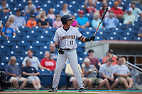 Heriberto Hernandez (11) of the Charleston RiverDogs at bat against the Kannapolis Cannon Ballers at Atrium Health Ballpark on July 1, 2021 in Kannapolis, North Carolina. (Brian Westerholt/Four Seam Images)