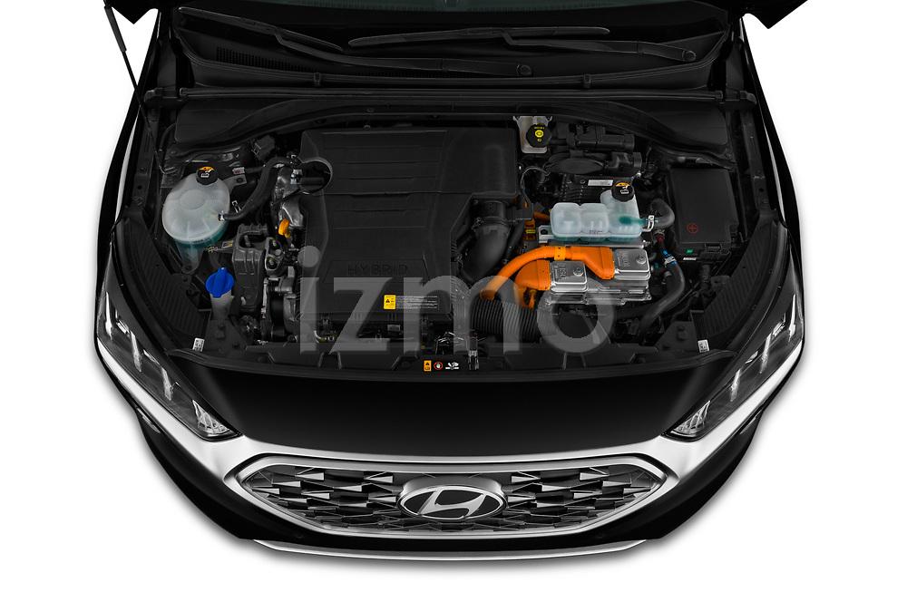 Car stock 2020 Hyundai Ioniq Hybrid Shine 5 Door Hatchback engine high angle detail view