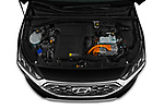 Car stock 2020 Hyundai Ioniq Hybrid Shine 5 Door Hatchback engine high angle detail view