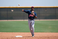 Cleveland Indians second baseman Jhan Rodriguez (4) makes a throw to first base during an Extended Spring Training game against the Arizona Diamondbacks at the Cleveland Indians Training Complex on May 27, 2018 in Goodyear, Arizona. (Zachary Lucy/Four Seam Images)