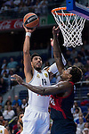 Real Madrid´s player Gustavo Ayon and Bayern Munich´s player Thompson during the 4th match of the Turkish Airlines Euroleague at Barclaycard Center in Madrid, Spain, November 05, 2015. <br /> (ALTERPHOTOS/BorjaB.Hojas)