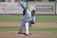 Andres Santiago (44) of the Iowa Cubs throws a pitch against the New Orleans Zephyrs at Principal Park on April 23, 2015 in Des Moines, Iowa.  The Zephyrs won 9-2.  (Dennis Hubbard/Four Seam Images)