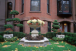 N.A., USA, Massachussetts, Boston, Back Bay, Townhouse Garden with Autumn Leaves