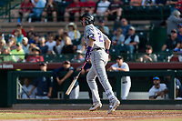 Salt River Rafters first baseman Tyler Nevin (2), of the Colorado Rockies organization, starts down the first base line during the Arizona Fall League Championship Game against the Peoria Javelinas at Scottsdale Stadium on November 17, 2018 in Scottsdale, Arizona. Peoria defeated Salt River 3-2 in 10 innings. (Zachary Lucy/Four Seam Images)