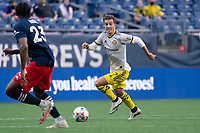 FOXBOROUGH, MA - MAY 16: Pedro Santos #7 Columbus SC drives the ball towards the New England Revolution goal during a game between Columbus SC and New England Revolution at Gillette Stadium on May 16, 2021 in Foxborough, Massachusetts.