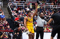 STANFORD, CA - March 7, 2020: Anthony Valencia of Arizona State University during the 2020 Pac-12 Wrestling Championships at Maples Pavilion.