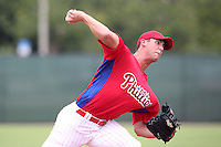 GCL Phillies pitcher Jonathan Musser #55 delivers a pitch during a game against the GCL Braves at the Carpenter Complex on June 22, 2011 in Clearwater, Florida.  The Braves defeated the Phillies 8-6.  (Mike Janes/Four Seam Images)