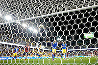 Ecuador goalkeeper Maximo Banguera (1) grabs a ball. The men's national team of the United States (USA) was defeated by Ecuador (ECU) 1-0 during an international friendly at Red Bull Arena in Harrison, NJ, on October 11, 2011.