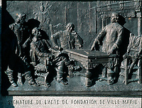 Montreal (Qc) CANADA - Dec 1998 -<br /> engraving in PLace d'armes depicting the Ville-Marie (Montreal) foundation act official signing.<br /> <br /> <br /> Monument à la mémoire de Paul de Chomedey, sieur de Maisonneuve