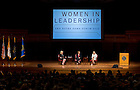 """Sept.16, 2013; Moderator Anne Thompson, of NBC News, Honorable Michele Flournoy and General Ann Dunwoody (right) speak on the topic """"Getting to the Top at the Pentagon,"""" part of the 2013-14 Notre Dame Forum: """"Women in Leadership"""" in Leighton Concert Hall at DeBartolo Performing Arts Center. Photo by Barbara Johnston/University of Notre Dame"""