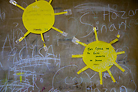 Serbia. Leskovac is a city and the administrative center of the Jablanica District in southern Serbia. «Petar Tasir» Elementary School. The school's students are all from Romani ethnicity. 1st Grade classroom. Two yellow suns are taped on the wall. Handwritten words in Cyrillic language. (Sun Left) The sunlight is needed for people, plants and animals. (Sun Right) Without sun, life would not be possible. The Romani (also spelled Romany) or Roma, Roms or Gypsies, are a traditionally itinerant ethnic group. The flag of Serbia is a tricolor consisting of three equal horizontal bands, red on the top, blue in the middle and white on the bottom. The Pestalozzi Children's Foundation (Stiftung Kinderdorf Pestalozzi) is advocating access to high quality education for underprivileged children. It supports in Leskovac a project called» Together in transition».18.4.2018 © 2018 Didier Ruef for the Pestalozzi Children's Foundation