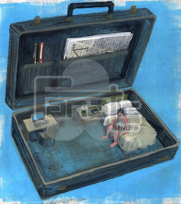 Illustrative image of businessman sitting on bed in briefcase depicting business travel