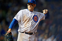 Chicago Cubs first baseman Anthony Rizzo (44) in the eighth inning during Game 4 of the Major League Baseball World Series against the Cleveland Indians on October 29, 2016 at Wrigley Field in Chicago, Illinois.  (Mike Janes/Four Seam Images)