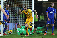 Tom Clarke of Preston North End celebrates scoring his sides first goal of the match in the last minute of the Sky Bet Championship match between Cardiff City and Preston North End at the Cardiff City Stadium, Wales, UK. Friday 29 December 2017
