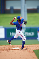 St. Lucie Mets shortstop Amed Rosario (1) throws to first base during a game against the Brevard County Manatees on April 17, 2016 at Tradition Field in Port St. Lucie, Florida.  Brevard County defeated St. Lucie 13-0.  (Mike Janes/Four Seam Images)