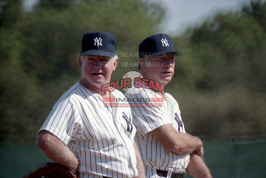 Whitey Ford (L) and Mickey Mantle during the Mickey Mantle-Whitey Ford Fantasy Camp circa November 1989 at Fort Lauderdale Stadium in Ft. Lauderdale, Florida.  (MJA/Four Seam Images)