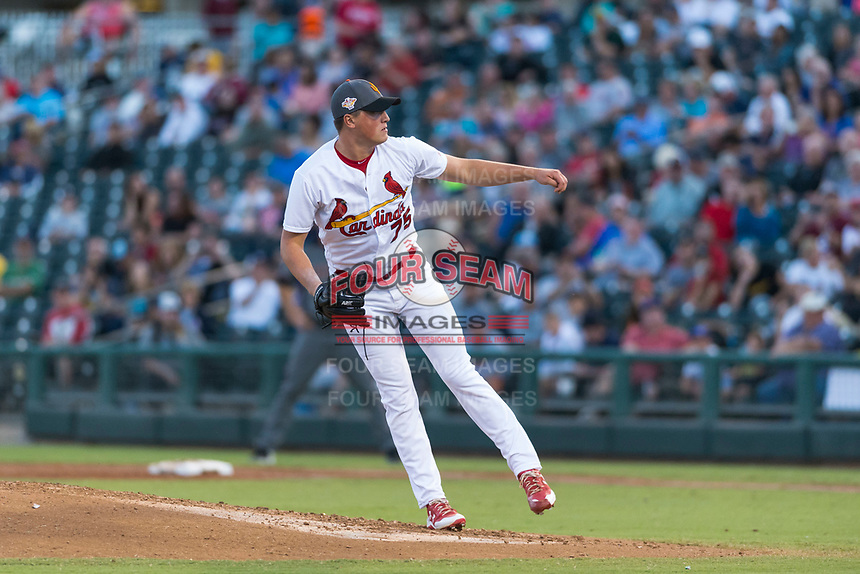 AFL West relief pitcher Evan Kruczynski (75), of the Surprise Saguaros and St. Louis Cardinals organization, follows through on his delivery during the Arizona Fall League Fall Stars game at Surprise Stadium on November 3, 2018 in Surprise, Arizona. The AFL West defeated the AFL East 7-6 . (Zachary Lucy/Four Seam Images)