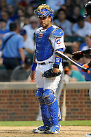 Chicago Cubs catcher Geovany Soto #18 during a game against the Miami Marlins at Wrigley Field on July 17, 2012 in Chicago, Illinois. The Marlins defeated the Cubs 9-5. (Tony Farlow/Four Seam Images).