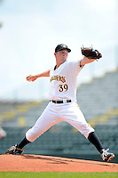 Bradenton Marauders pitcher Adrian Sampson #39 during a game against the Fort Myers Miracle at McKechnie Field on April 7, 2013 in Bradenton, Florida.  Fort Myers defeated Bradenton 9-8 in ten innings.  (Mike Janes/Four Seam Images)