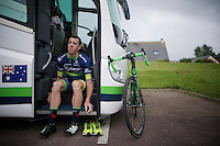 Mathew Hayman (AUS/Orica-BikeExchange) getting ready for a training ride<br /> <br /> New kits/colors for a new name sponsor as Team Orica-GreenEDGE changes into Team Orica-BikeExchange ahead of the 2016 Tour de France