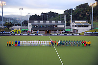 The teams line up before the international men's hockey match between the NZ Black Sticks and Pakistan at National Hockey Stadium in Wellington, New Zealand on Monday, 20 March 2017. Photo: Dave Lintott / lintottphoto.co.nz