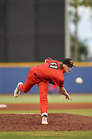 """Pensacola Blue Wahoos pitcher Max Meyer (11) during a game against the Montgomery Biscuits on August 11, 2021 at Blue Wahoos Stadium in Pensacola, Florida.  The Blue Wahoos wore special uniforms and played as the Crabzillas for the """"Festival of Crabzilla"""" promotional night, a commemoration of a crab sandwich the team sells.  (Mike Janes/Four Seam Images)"""
