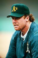 Mark McGwire of the Oakland Athletics at Anaheim Stadium in Anaheim,California during the 1996 season. (Larry Goren/Four Seam Images)