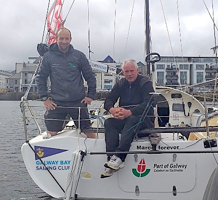 Yannick Lemonnier (left) with GBSC Commodore Johnny Shorten. The Galway sailmaker is embarking on the first part of his Mini campaign that features a 600-mile race fromDouarnenez in Western France