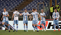Europa League quarter-final 1st leg <br /> S.S. Lazio - FC Salzburg  Olympic Stadium Rome, April 5, 2018.<br /> Lazio's captain Senad Lulic celebrates after scoring with his teammates during the Europa League match between Lazio and Salzburg at Rome's Olympic stadium, April 5, 2018.<br /> UPDATE IMAGES PRESS/Isabella Bonotto