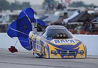 Apr. 26, 2013; Baytown, TX, USA: NHRA funny car driver Ron Capps during qualifying for the Spring Nationals at Royal Purple Raceway. Mandatory Credit: Mark J. Rebilas-