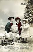 Jonny, CHILDREN, nostalgic, paintings, 3 kids, sleigh(GBJJ33,#K#) Kinder, niños, nostalgisch, nostálgico