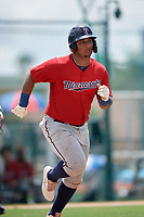 GCL Twins Victor Heredia (19) runs to first base during a Gulf Coast League game against the GCL Pirates on August 6, 2019 at Pirate City in Bradenton, Florida.  GCL Twins defeated the GCL Pirates 4-2 in the first game of a doubleheader.  (Mike Janes/Four Seam Images)