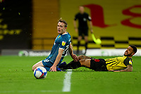 26th December 2020; Vicarage Road, Watford, Hertfordshire, England; English Football League Championship Football, Watford versus Norwich City; Andre Gray of Watford fails to connect with a cross