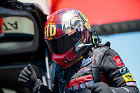 Aug 8, 2020; Clermont, Indiana, USA; NHRA funny car driver Alexis DeJoria during qualifying for the Indy Nationals at Lucas Oil Raceway. Mandatory Credit: Mark J. Rebilas-USA TODAY Sports