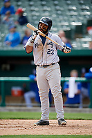 Kane County Cougars catcher Alexis Olmeda (23) at bat during a game against the South Bend Cubs on May 3, 2017 at Four Winds Field in South Bend, Indiana.  South Bend defeated Kane County 6-2.  (Mike Janes/Four Seam Images)