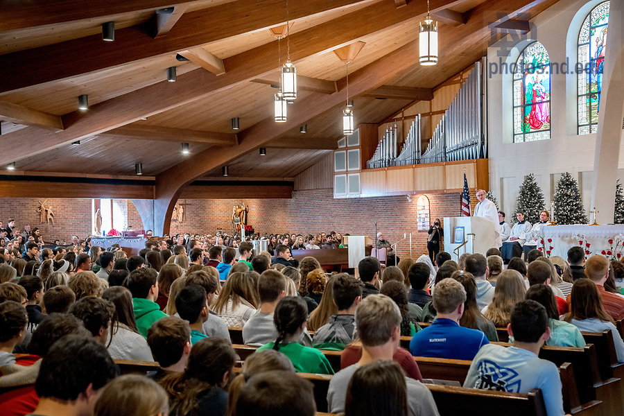 January 19, 2018; Rev. John I. Jenkins, C.S.C. gives the homily at a Mass at St. Agnes Church in Arlington, VA prior to the March for Life. (Photo by Matt Cashore/University of Notre Dame)