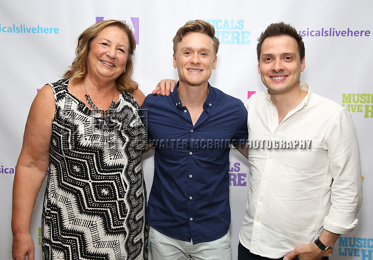 """Barbara Chubb, Josh Canfield and David Ruttura backstage at the New York Musical Festival production of  """"Alive! The Zombie Musical"""" at the Alice Griffin Jewel Box Theatre on July 29, 2019 in New York City."""