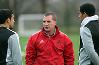 FAO SPORTS PICTURE DESK<br /> Pictured: Manager Brendan Rodgers (C) with players Neil Taylor (L) and Ashley Williams (R). Thursday 12 January 2012<br /> Re: Premier League football side Swansea City FC training session at Llandarcy, south Wales.
