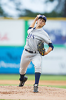 Princeton Rays starting pitcher Brent Honeywell (31) in action against the Burlington Royals at Burlington Athletic Park on July 9, 2014 in Burlington, North Carolina.  The Rays defeated the Royals 3-0.  (Brian Westerholt/Four Seam Images)
