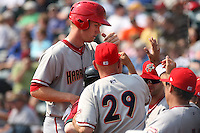 April 11, 2010:  First overall draft pick of the 2009 MLB Draft Stephen Strasburg (37) is congratulated by teammates after scoring a run in his professional debut with the Harrisburg Senators, Double-A affiliate of the Washington Nationals, in a game vs. the Altoona Curve, affiliate of the Pittsburgh Pirates, at Blair County Ballpark in Altoona, PA.  Photo By Mike Janes/Four Seam Images