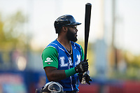 Courtney Hawkins (24) of the Lexington Legends at bat against the High Point Rockers at Truist Point on June 16, 2021, in High Point, North Carolina. The Legends defeated the Rockers 2-1. (Brian Westerholt/Four Seam Images)