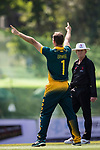 Sarel Erwee of South Africa celebratesduring Day 2 of Hong Kong Cricket World Sixes 2017 Cup Semi 1 match between  New Zealand Kiwis vs South Africa  at Kowloon Cricket Club on 29 October 2017, in Hong Kong, China. Photo by Yu Chun Christopher Wong / Power Sport Images