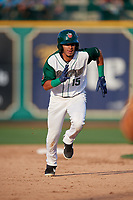 Fort Wayne TinCaps Tucupita Marcano (15) running the bases during a Midwest League game against the Peoria Chiefs on July 17, 2019 at Parkview Field in Fort Wayne, Indiana.  Fort Wayne defeated Peoria 6-2.  (Mike Janes/Four Seam Images)