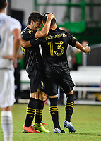 LAKE BUENA VISTA, FL - JULY 18: Mohamed El-Munir #13 of LAFC celebrates his goal with teammate Francisco Ginella #8 during a game between Los Angeles Galaxy and Los Angeles FC at ESPN Wide World of Sports on July 18, 2020 in Lake Buena Vista, Florida.