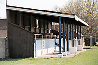 The main stand at Wells City FC Football Ground, Athletic Ground, Rowden Road, Wells, Somerset, pictured on 27th March 1997