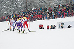 HOLMENKOLLEN, OSLO, NORWAY - March 16: Athletes during the cross country 15 km (2 x 7.5 km) competition at the FIS Nordic Combined World Cup on March 16, 2013 in Oslo, Norway. (Photo by Dirk Markgraf)