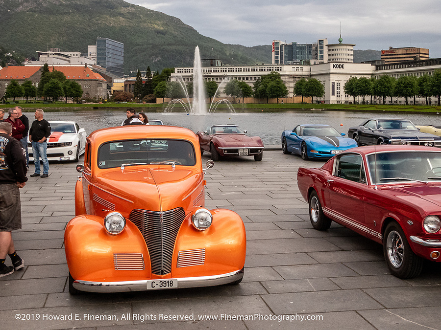 Classic car parade in Bergen's main downtowns park