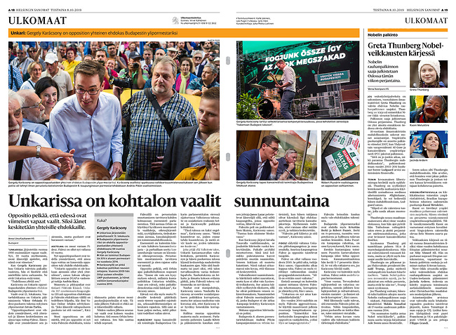 Helsingin Sanomat (leading Finnish daily) on municipal elections in Budapest, Hungary. October 2019<br />